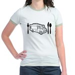 Food Truck Plate & Utensils Jr. Ringer T-Shirt