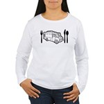 Food Truck Plate & Utensils Women's Long Sleeve T-