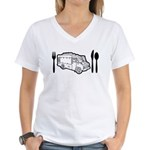 Food Truck Plate & Utensils Women's V-Neck T-Shirt