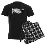 Food Truck Plate & Utensils Men's Dark Pajamas