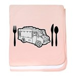 Food Truck Plate & Utensils baby blanket