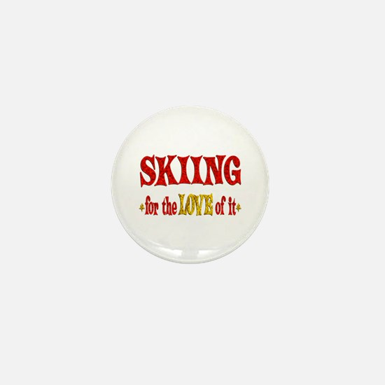 Skiing Love Mini Button