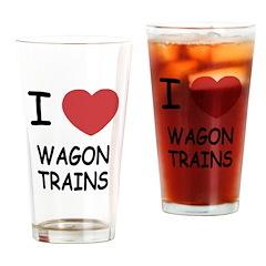 I heart wagon trains Drinking Glass