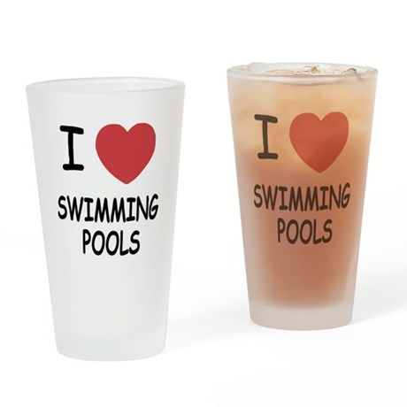 I Heart Swimming Pools Drinking Glass By Super Awesome Shirts