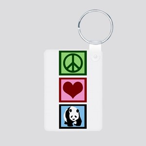 Peace Love Pandas Aluminum Photo Keychain