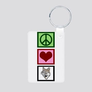 Peace Love Wolves Aluminum Photo Keychain