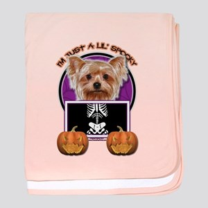 Just a Lil Spooky Yorkie baby blanket