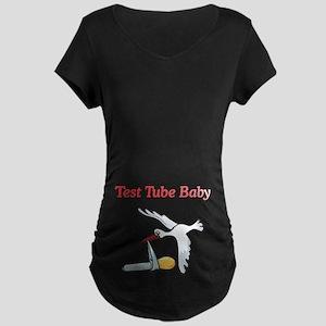 Test Tube Baby Stork Maternity Dark T-Shirt