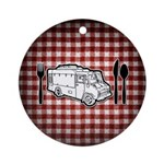 Food Truck Plate & Utensils Ornament (Round)