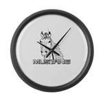 Mustang Horse txt Large Wall Clock