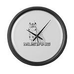 Mustang Horse txt Large Wall Clock