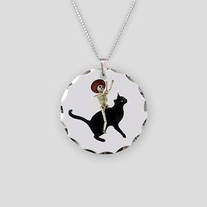 Skeleton on Cat Necklace Circle Charm