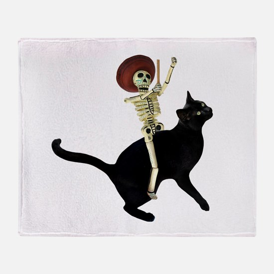 Skeleton on Cat Throw Blanket