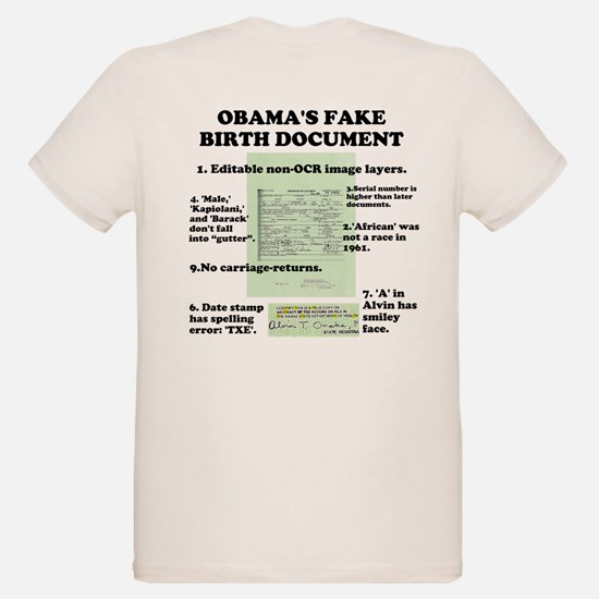 OBAMA'S FAKE BIRTH CERTIFICATE ORGANIC KIDS T