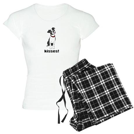 Boston Terrier Puppy Kisses Women's Light Pajamas