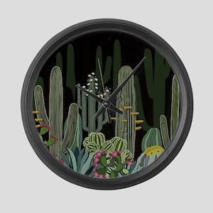 Cactus Garden at Night Large Wall Clock
