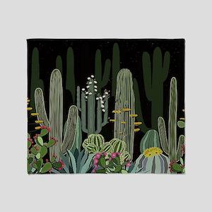 Cactus Garden at Night Throw Blanket