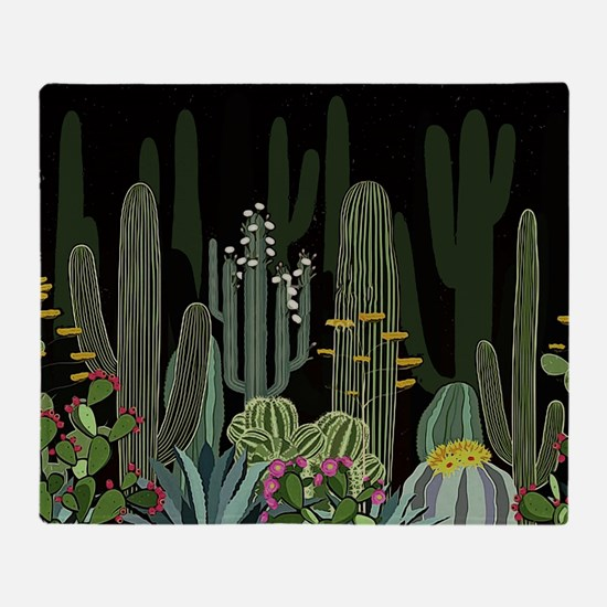 Cactus Garden at Night Throw Blanket