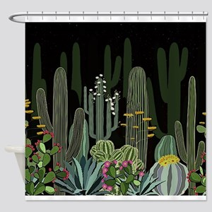 Cactus Garden at Night Shower Curtain