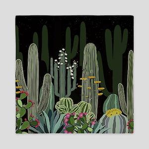 Cactus Garden at Night Queen Duvet