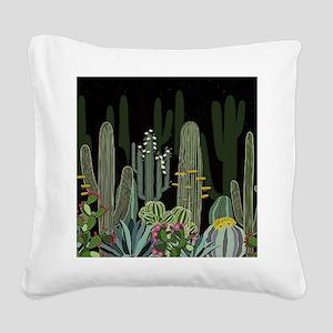Cactus Garden at Night Square Canvas Pillow