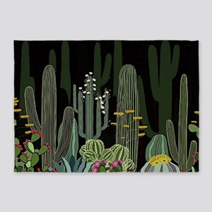 Cactus Garden at Night 5'x7'Area Rug