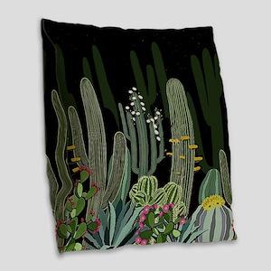 Cactus Garden at Night Burlap Throw Pillow