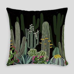 Cactus Garden at Night Everyday Pillow