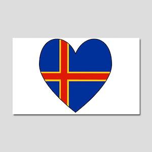 Alander Island Flag Heart Car Magnet 20 x 12