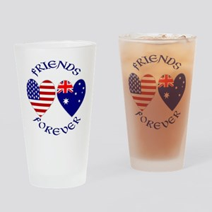 Australia USA Friends Drinking Glass