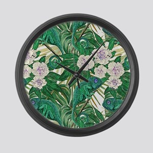 Chameleons and Camellias Large Wall Clock
