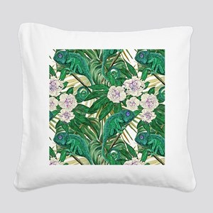 Chameleons and Camellias Square Canvas Pillow