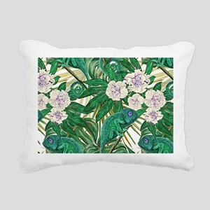 Chameleons and Camellias Rectangular Canvas Pillow
