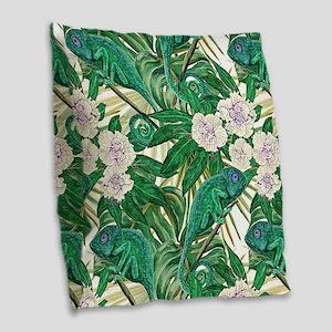 Chameleons and Camellias Burlap Throw Pillow