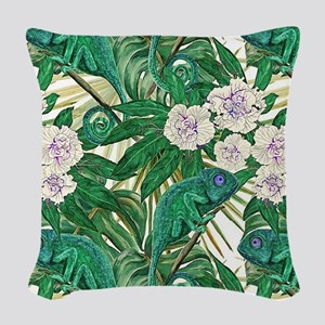 Chameleons and Camellias Woven Throw Pillow