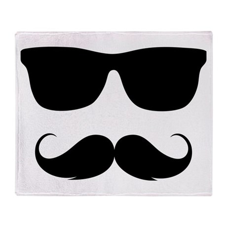 cool moustache Throw Blanket