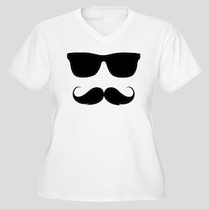 cool moustache Women's Plus Size V-Neck T-Shirt