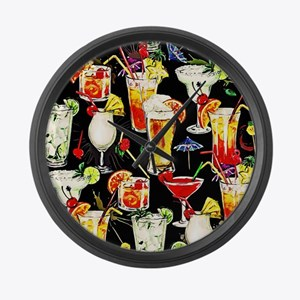 Cocktail Hour in the Tropics Large Wall Clock
