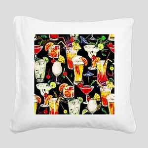 Cocktail Hour in the Tropics Square Canvas Pillow
