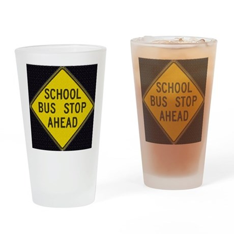 Bus Stop Black Drinking Glass