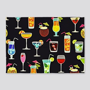 It's 5 O'Clock Somewhere Cocktails 5'x7'Area Rug