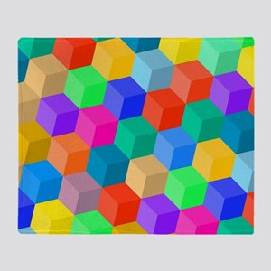 Crayon Colored Perspective Cubes Throw Blanket