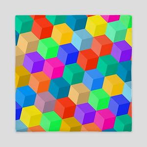 Crayon Colored Perspective Cubes Queen Duvet