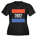 2012 Election RWB Women's Plus Size V-Neck Dark T-