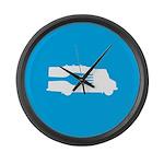 Food Truck: Side/Fork (Blue) Large Wall Clock