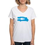 Food Truck: Side/Fork (Blue) Women's V-Neck T-Shir