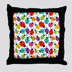 Lots of Crayon Colored Ladybugs Throw Pillow