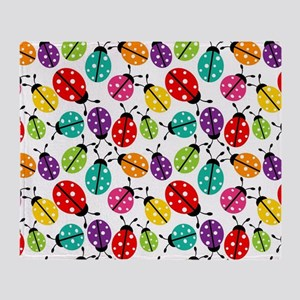 Lots of Crayon Colored Ladybugs Throw Blanket
