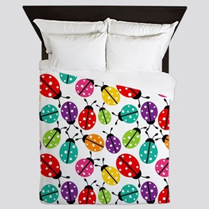Lots of Crayon Colored Ladybugs Queen Duvet