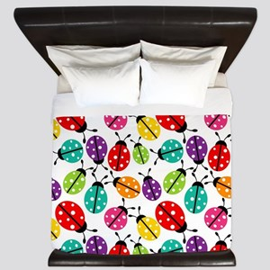 Lots of Crayon Colored Ladybugs King Duvet